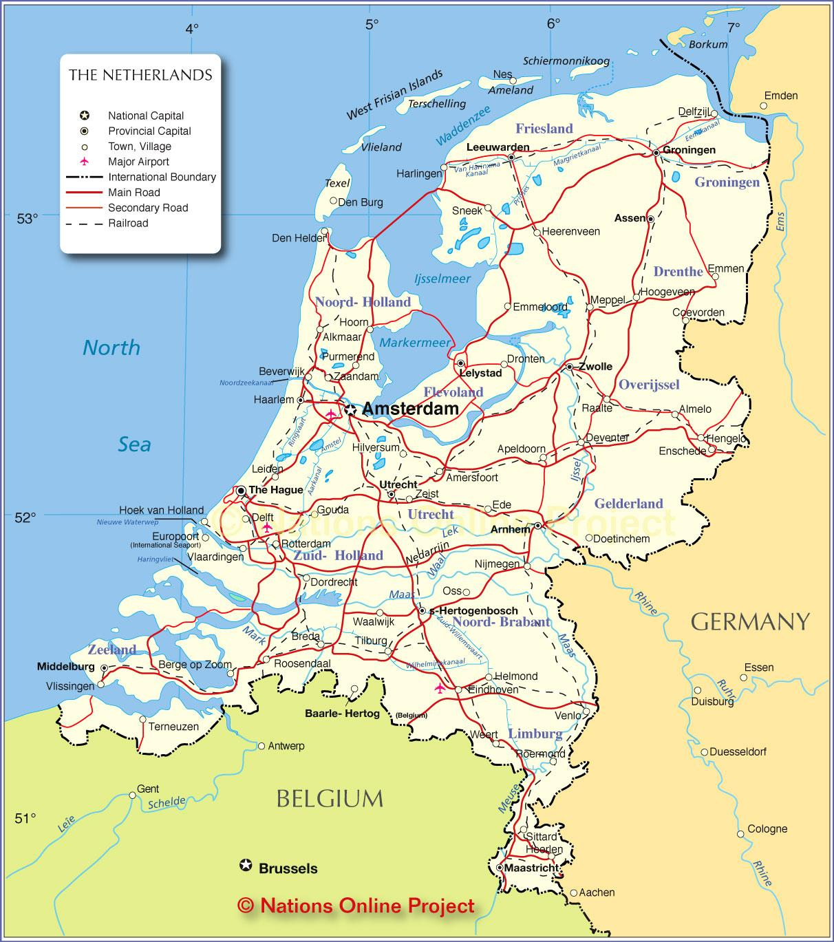 Holland Map Karta Over Holland Nederlanderna Vastra