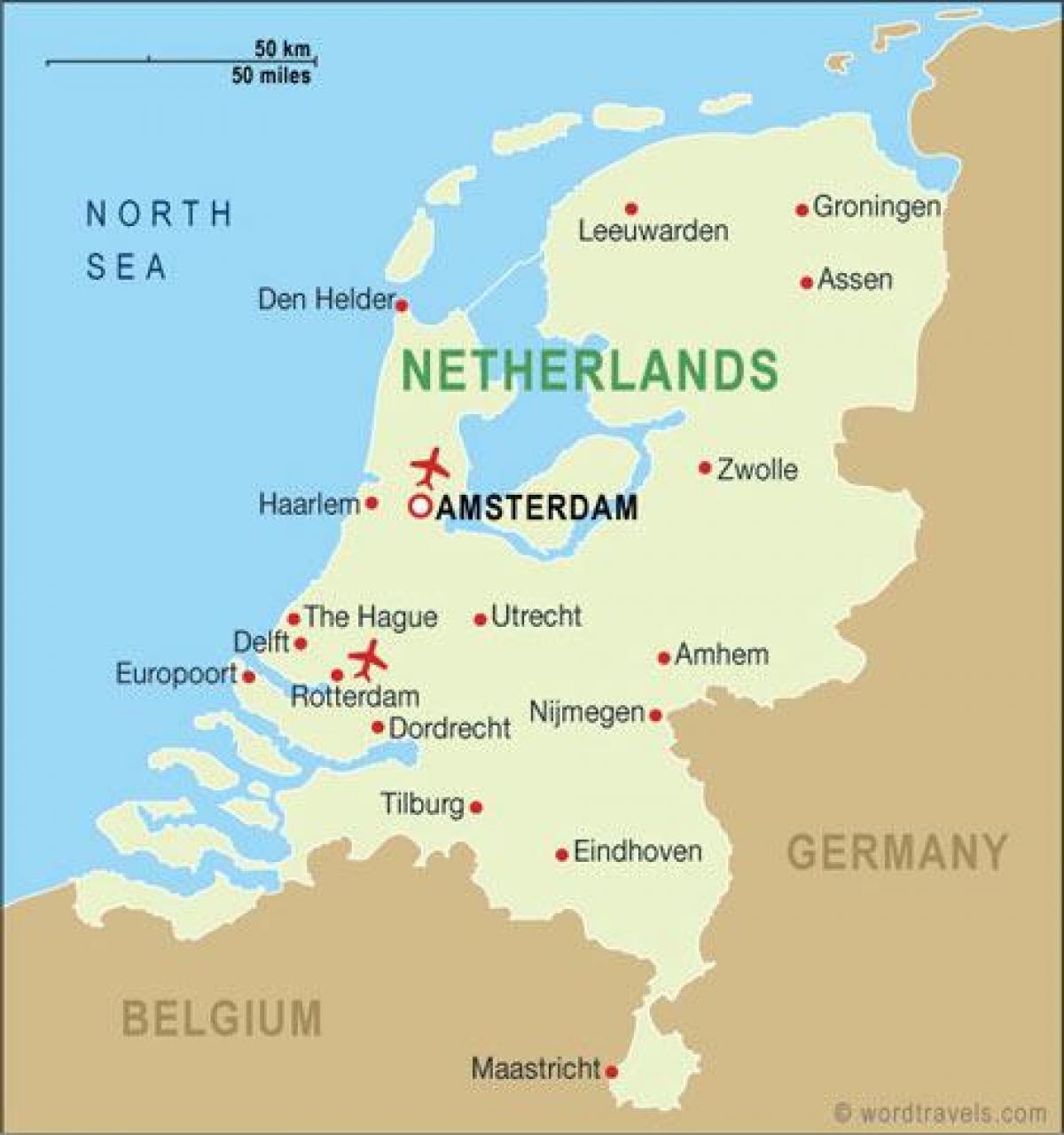 holland karta Holland flygplatser karta   Flygplatser i Holland karta (Västra  holland karta