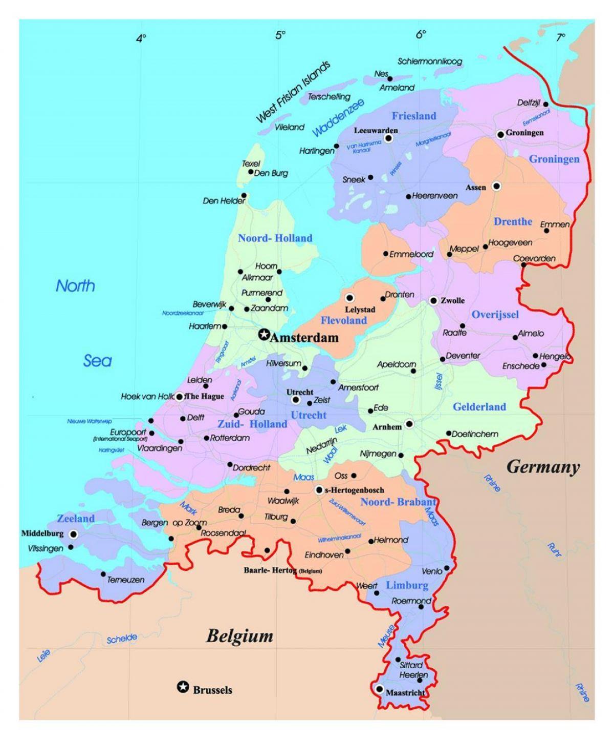 karta holland Karta Holland   Holland på karta (Västra Europa   Europa) karta holland